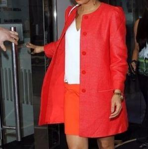 Zara Red Raffia Jacket Coat